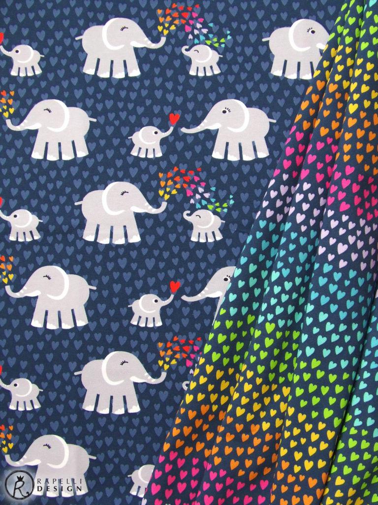 Elefantenliebe Elefantenstoff Elefant Jersey Herzen Herzchen Liebe Regenbogenherzen