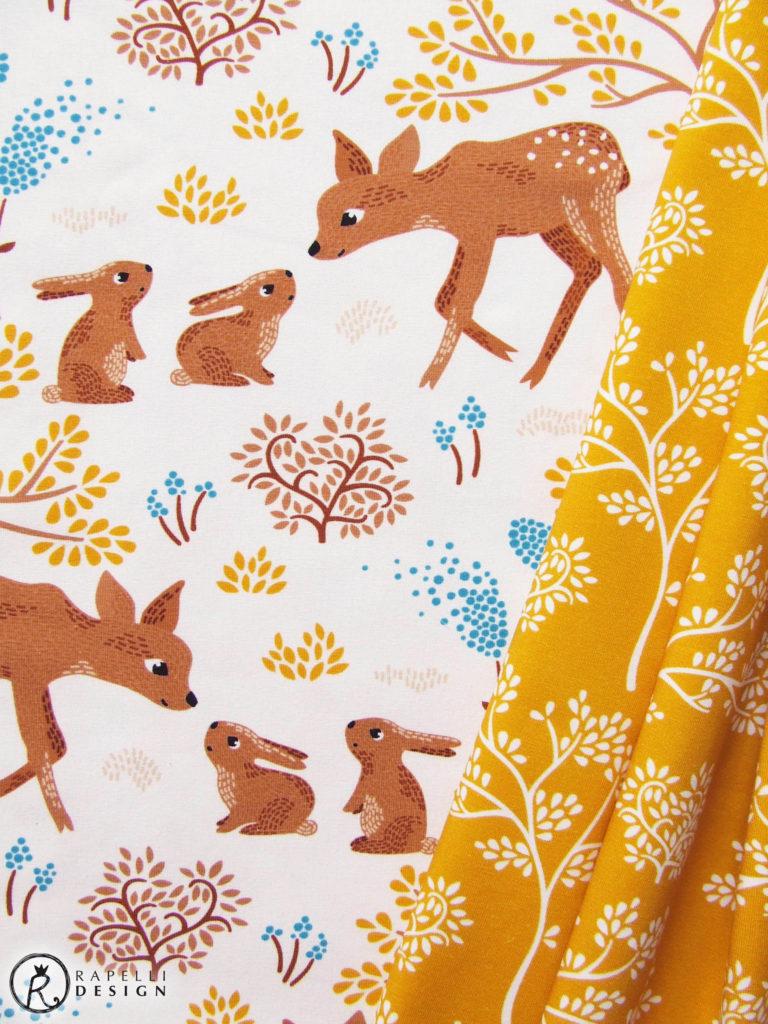 L'amitié Reh Kaninchen Hase Freundschaft Stoff Wald Jersey Bäume